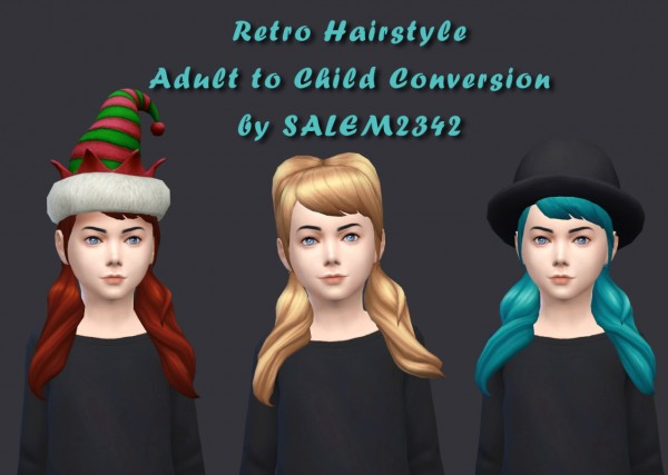 Salem2342: Retro hairstyle for Sims 4