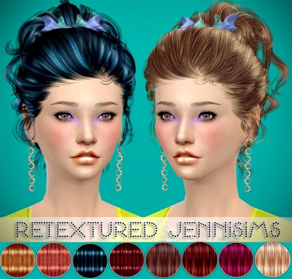 Jenni Sims: Newsea`s Rachel Hairstyle retextured with bow for Sims 4