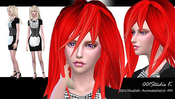 Studio K Creation: Animate hairstyle 2 for Sims 4