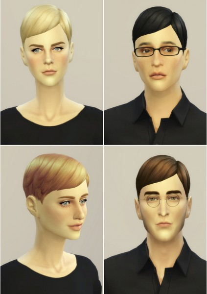 Rusty Nail: Short straight Pixie hairstyle edit for Sims 4