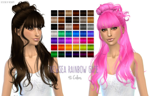 Nessa sims: Newsea`s Rainbow Gate hairstyles retextured for Sims 4