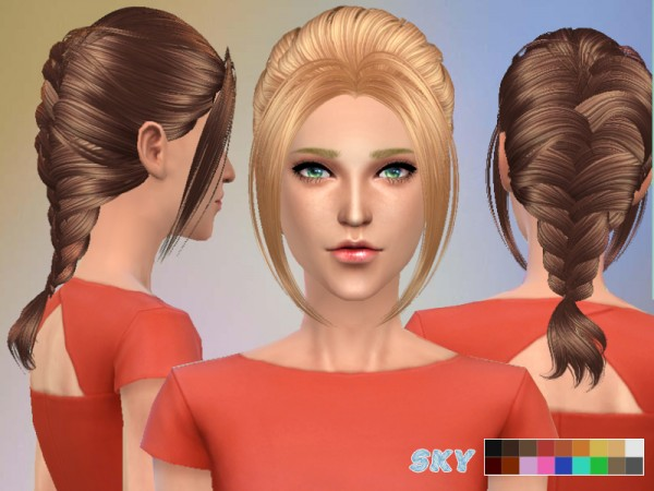 The Sims Resource: Fishtail Hairstyle 149 by Skysims for Sims 4