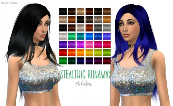 Nessa sims: Stealthic Runaway hairstyle retextured for Sims 4