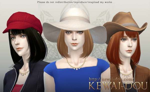 KEWAI DOU: Cecile bob with bangs hairstyle for Sims 4