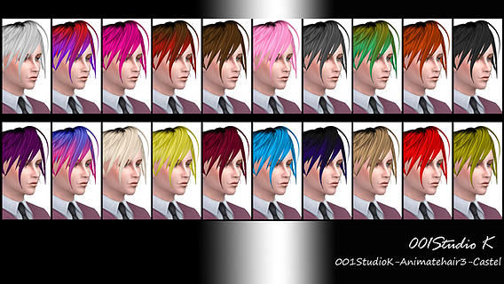 Studio K Creation: Animate hairstyle 3 for Sims 4