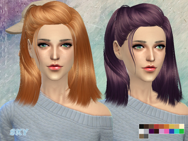 The Sims Resource: Side caught hairstyle by Skysims for Sims 4