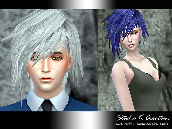 Studio K Creation: Animate hairstyle Chris 6 for Sims 4