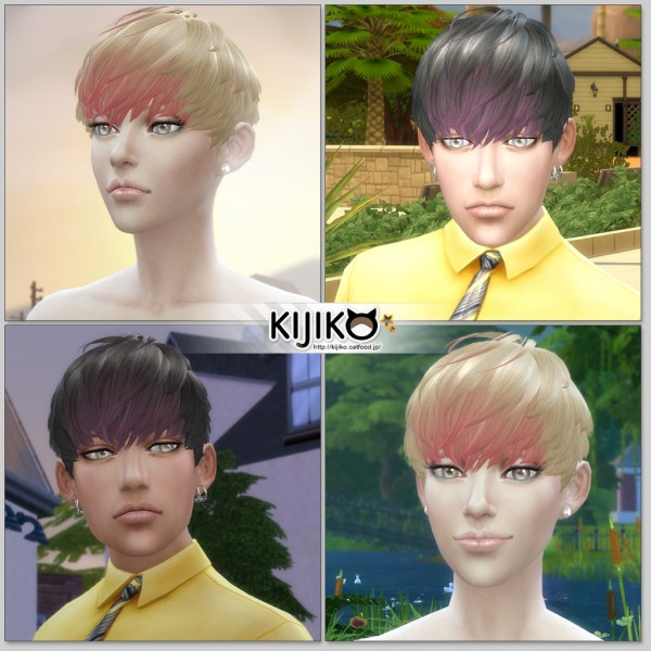 Kijiko Sims: Short Hair With Heavy Bangs for him for Sims 4