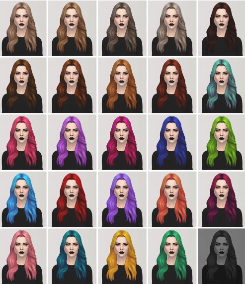 Lightsxxx: Long weavy parted hairstyle recolor for Sims 4
