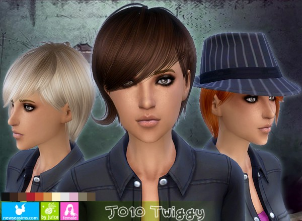 NewSea: J010 Twiggy modern hairstyle for Sims 4