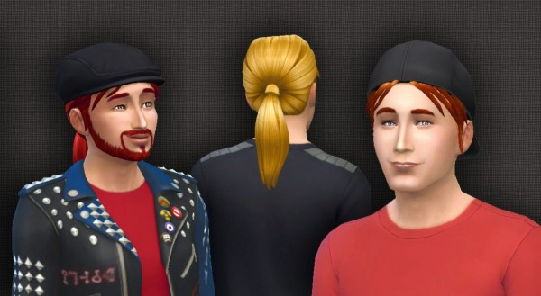 Mystufforigin: Low Ponytail for males for Sims 4