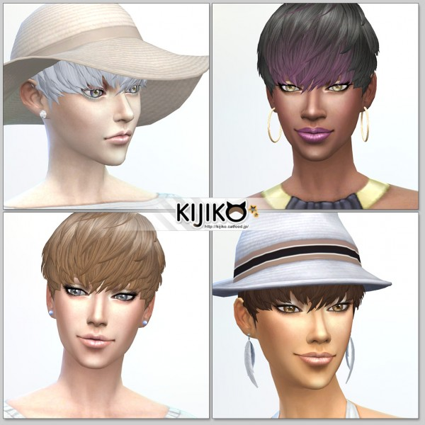 Kijiko Sims: Short Hair With Heavy Bangs for her for Sims 4