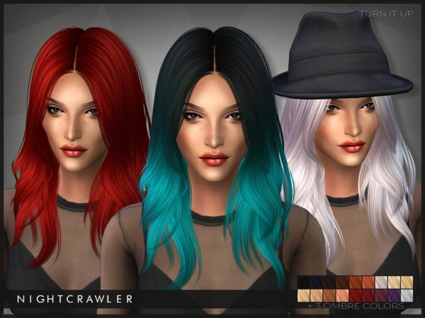 The Sims Resource: Turn It Up hairstyle by Nightcrawler for Sims 4