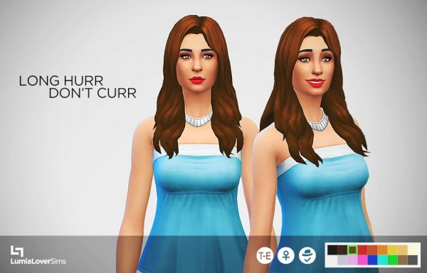 Lumia Lover Sims: Long Hurr Don't Curr hairstyle retextured for Sims 4