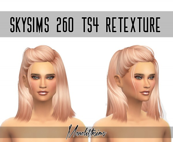 Monolith Sims: Skysims 260 hairstyle retextured for Sims 4