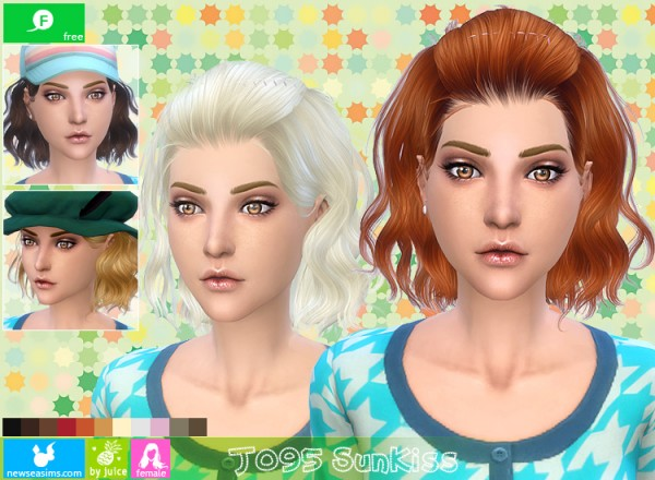 NewSea: J095 SunKiss wavy bob hairstyle for Sims 4