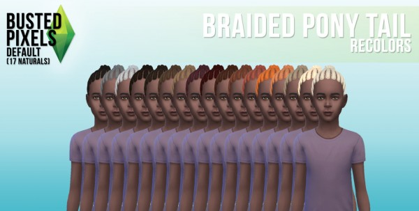Busted Pixels: Braided ponytail hairstyle for Sims 4