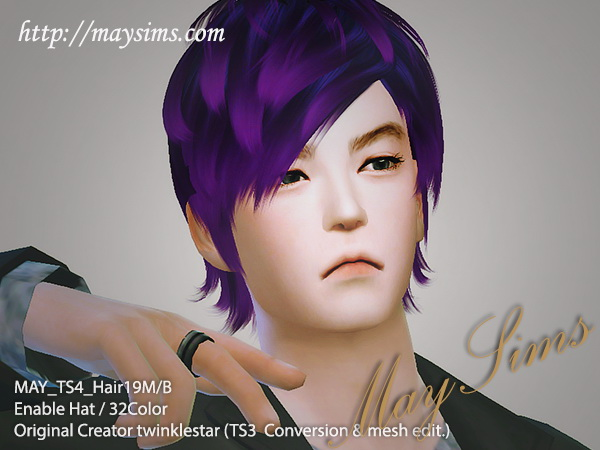 MAY Sims: May Hairstyle 19M/B for Sims 4