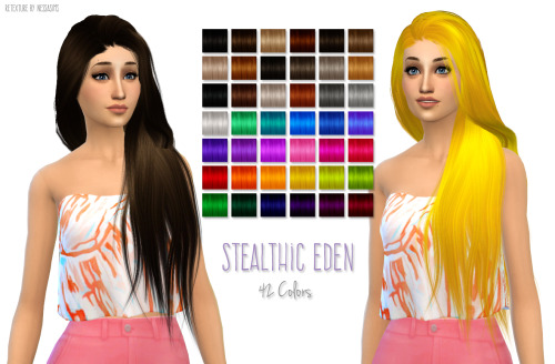 Nessa sims: Stealthic Eden hairstyle retextured for Sims 4