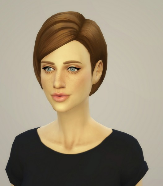 Rusty Nail: Medium straight parted hairstyle edit for Sims 4