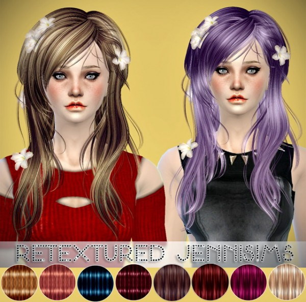 Jenni Sims: Newsea`s Kiss Jasmine with flower and Twiggy hairstyles retextured for Sims 4