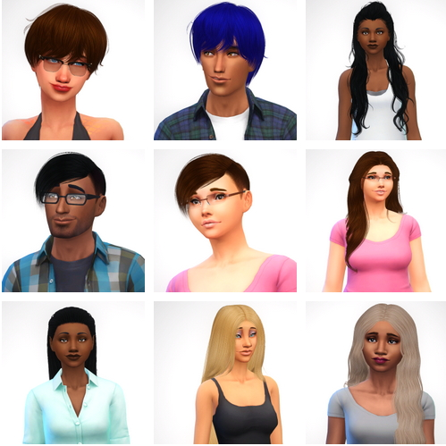 Swirl Goodies: Nine hairstyle retextured for Sims 4