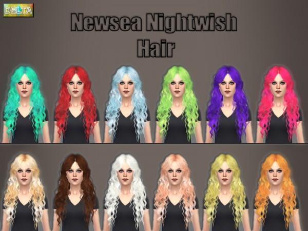 Delta Sim: Newsea`s Nightwish hairstyle retextured for Sims 4