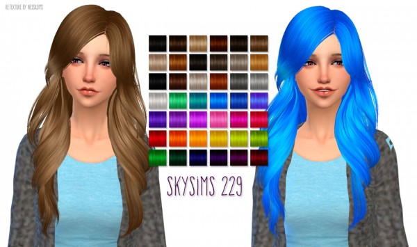 Nessa sims: Skysims 229 hairstyle retextured for Sims 4