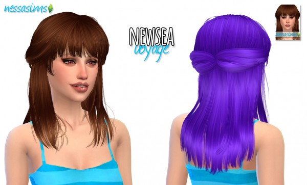 Nessa sims: Newsea`s Voyage hairstyle retextured for Sims 4