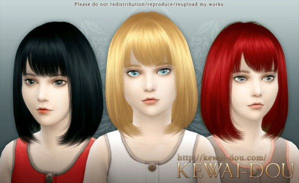 KEWAI DOU: Cecile bob with bangs hairstyle for girls for Sims 4