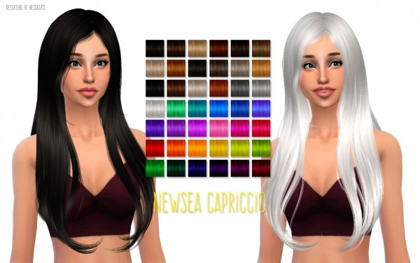 Nessa sims: Newsea Capriccio hairstyle retextured for Sims 4
