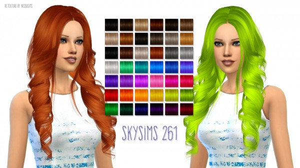 Nessa sims: Skysims 261 hairstyle retextured for Sims 4