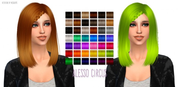 Nessa sims: Alesso`s   Circus Hairstyle retextured for Sims 4