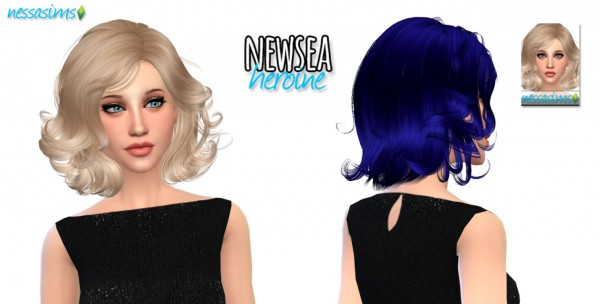 Nessa sims: Newsea`s Heroine hairstyle retextured for Sims 4