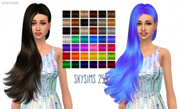 Nessa sims: Skysims 259 hairstyle retextured for Sims 4