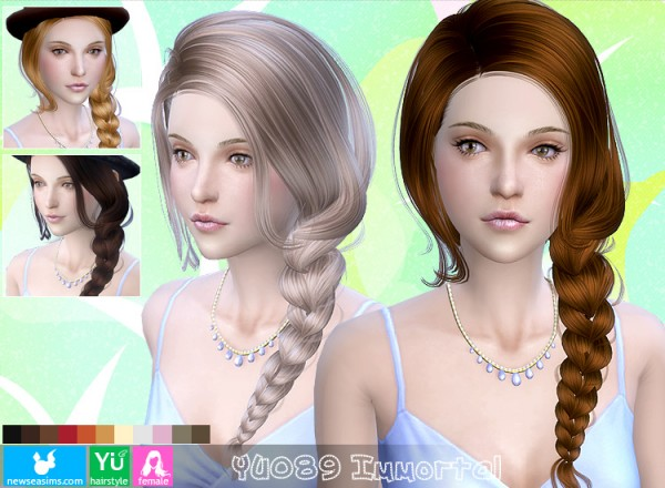NewSea: Yu 089 Immortal In a side fishtail hairstyle for Sims 4