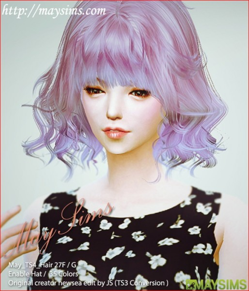 MAY Sims: May Hairstyle 27F / G for Sims 4