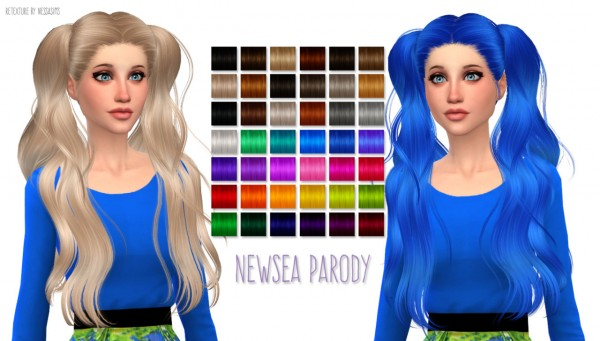 Nessa sims: Newsea Parody hairstyle retextured for Sims 4