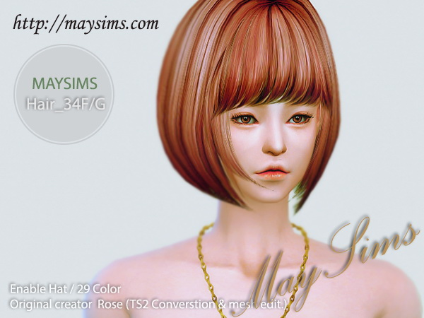 MAY Sims: May Hair 34F/G retextured for Sims 4