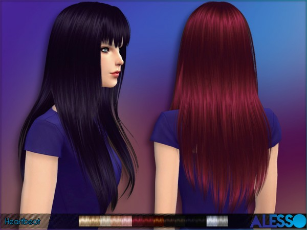 The Sims Resource: Straight hairstyle with bangs Heartbeat for Sims 4