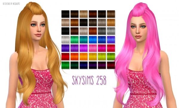 Nessa sims: Skysims 258 hairstyle retextured for Sims 4