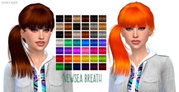 Nessa sims: Newsea Breath hairstyle retextured for Sims 4