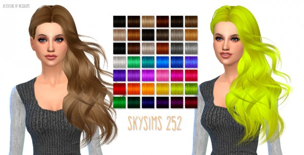 Nessa sims: Skysims 252 hairstyle retextured for Sims 4