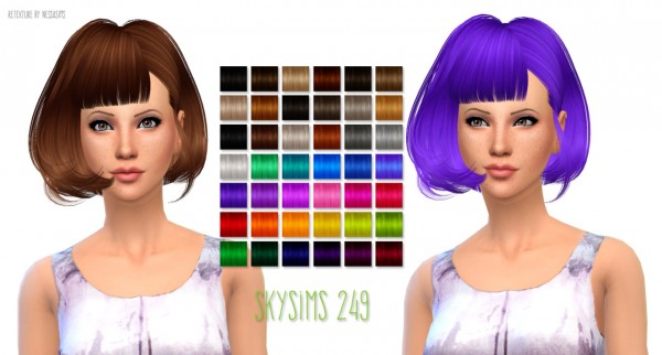 Nessa sims: Skysims 249 hairstyle retextured for Sims 4