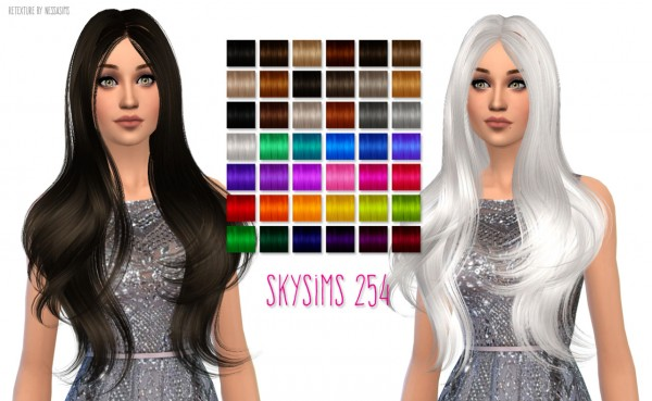 Nessa sims: Skysims 254 hairstyle retextured for Sims 4