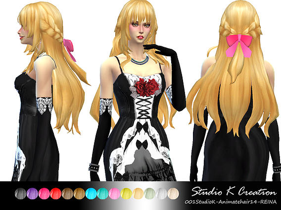 Studio K Creation: Animate hair 14  REINA for Sims 4