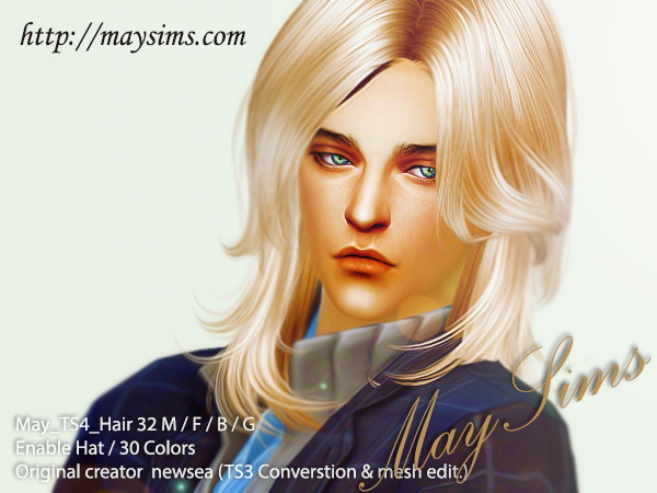 MAY Sims: May Hairstyle 32M/F/B/G retextured for Sims 4