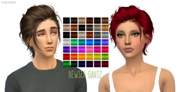Nessa sims: Newsea`s Gantz hairstyle retextured for Sims 4