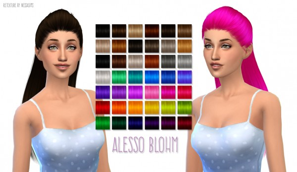 Nessa sims: Alesso's Blohm hairstyle retextured for Sims 4