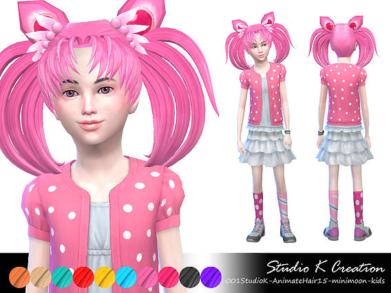 Studio K Creation: Animate hair 15   Mini Moon for Sims 4